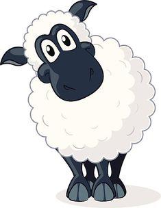 Fully editable vector illustration of a cartoon sheep. Free Vector Graphics, Free Vector Art, All Animals Images, Sheep Drawing, Sheep Illustration, Sheep Cards, Sheep Cartoon, Primitive Painting, Cute Sheep