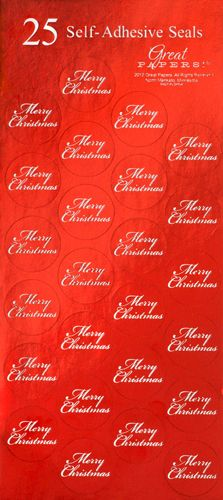 449e22c9332d Merry Christmas Red Foil Seals Stickers - 25 Count. Designer Papers