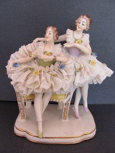 Vintage Ackerman & Fritze Dresden Porcelain Lace Group Figurine Ballerinas | eBay