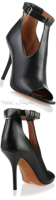 Givenchy ~ Black Leather Peep Toe Shooties