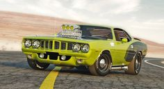 For muscle lovers! The 1971 Plymouth Barracuda 426 Hemi, best known as Hemi 'Cuda, with a little tuning. Old Muscle Cars, Best Muscle Cars, American Muscle Cars, Dodge Vehicles, Car Man Cave, Sweet Cars, Us Cars, Mellow Yellow, Rat Rods
