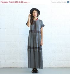 Best Sale EVER Eyelet Trim Party Dress  Grey  maxi by Naftul