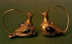 Golden earrings, artifacts from III-II century b.c., found in Trebeniste, Kale, Macedonia