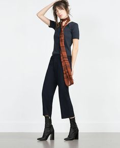 Image 1 of STRAIGHT CROPPED TROUSERS from Zara