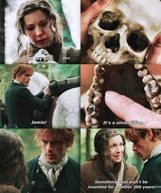 Claire finds the skull of someone from the future Outlander Quotes, Outlander Book Series, Outlander Tv Series, Outlander Funny, Outlander Casting, Claire Fraser, Jamie And Claire, Jamie Fraser, Drums Of Autumn