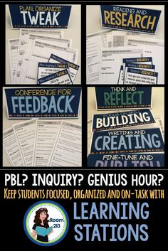 Are you doing PBL or Inquiry projects? What about Genius Hour or Time? These learning stations will keep it all organized. Inquiry Based Learning, Cooperative Learning, Project Based Learning, Deep Learning, Blended Learning, Journal Writing Prompts, Essay Writing Tips, Genious Hour, High School Classroom