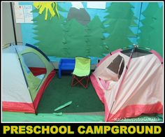 """Preschool """"Campground"""" Indoors, complete with two tents and forest"""