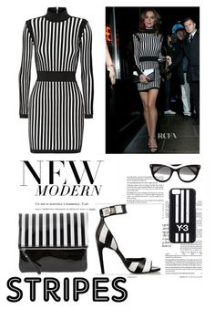 """""""Stripes ! For rectangle body shape"""" by monicazelin ❤ liked on Polyvore featuring Balmain, STELLA McCARTNEY and Y-3"""