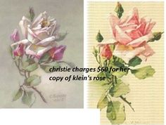 christie's is on the left. catherine klein's is on the right. the rose is the same, 4 of the buds are the same and the leaves are in the same place.
