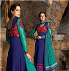 Party Wear Extra Long Anarkali Suits - If You Are A Diva Who Loves To Turn Heads Wherever You Go and This Delightful Drape Is A Must-Have Item For Your Closet. Add Grace And Charm To Your Appearance In This Beautiful Navy Blue Faux Georgette Salwar Kameez. The Lace, Multi and Resham Work Looks Chic And Perfect For Any Occasion.
