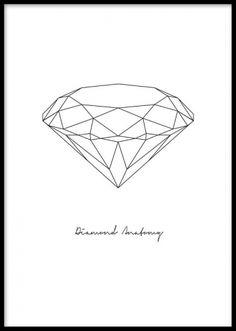 Grafisk poster med diamant. Diamond Anatomy poster. Denna grafiska diamantposter är fin att matcha till andra svartvita grafiska posters och prints. Planscher och affischer med diamanter.