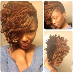 shaved sides and twist out | African Hair Braiding Styles: Lovely Kinky Twist Updo / Via