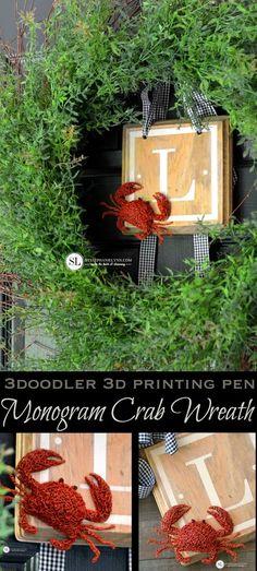DIY Monogram Crab Wreath   3Doodler 3D Printing Pen @michaelsstores #michaelsmakers