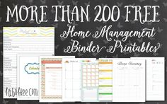 I seriously love my home management binder, but I haven't had a chance to make ALL of the pages that I would like in it yet, so I thought I would highlight a few other binders that other bloggers have so GENEROUSLY provided!  Combined, there are over 200 pages, I am sure that you could …