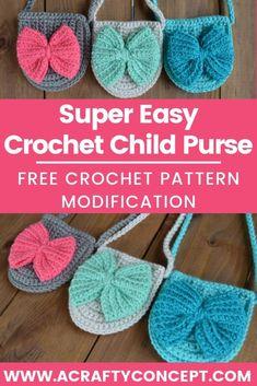 Crochet bow, girly crochet projects, crochet gifts for girls, crochet gifts for easter, little girl crochet gift bag for girls Bitty Bow Bag ? Purse Patterns Free, Crochet Purse Patterns, Crochet Purses, Crochet Bows Free Pattern, Sewing Patterns, Crochet Toddler, Baby Girl Crochet, Crochet For Kids, Kids Purse
