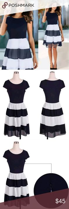 Gorgeous Short Sleeve Chiffon Dress Short Sleeve Stripe Chiffon A line Dress. Hidden zipper on the side. Navy and White Fully Lined.  This is NWOT Retail Price Firm Unless Bundled.  Measurements Available Upon Request. Dresses Midi