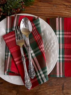 Shop holiday table linens and Christmas dinnerware sets. From plates and napkins to tablecloths, choose from a variety of festive sets for entertaining. Christmas Table Linen, Christmas Napkins, Christmas Table Settings, Christmas Tablescapes, Christmas Table Decorations, Plaid Christmas, Holiday Tables, Outdoor Christmas, Christmas Time