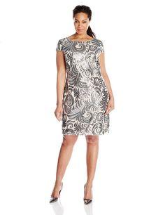 0fcdf2b0ebb3 Adrianna Papell Women's Plus-Size Sequined Chiffon Cap-Sleeve Sheath Dress,  Blush/