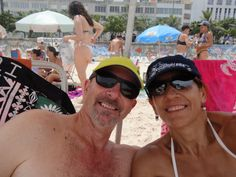 Sandra and Russell on Ipanema Beach.  Sorry about the background!  Check out Sandra's cap (Yellowstone)!