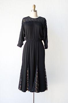 vintage 1970s black lace godet Dress