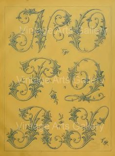 Antique FRENCH ALPHABET Letters - N-O-P-Q-R-S - Monogram Initials Embroidery Sewing Pattern Stencil