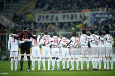 AC Milan's players pay a minute of silence in honour of the mother of their president Silvio Berlusconi who died today fefore their Serie A football match against Fiorentina in Florence's Artemio Franchi Stadium, 03 February 2008.