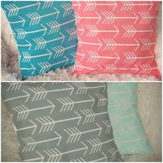 Arrows Pillow Cover / Mint / Aqua / Coral / Gray / by SimpleSawyer, $15.00