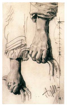 Two studies of Right Hand - drawing by Adolph von Menzel