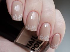 Nude Nails with White Lace Tips by Love Varnish
