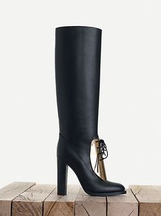 CÉLINE fashion and luxury shoes: 2013 Fall collection - Metal Plate Round Toe High Classic Boot