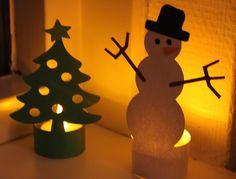 Waxine lichtje met kerstboom en sneeuwpop