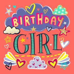 Birthday girl - Happy Birthday Card  #greetingcards #printable #diy #birthday