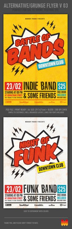 Battle Of Bands Flyer Template by moodboy , via Behance