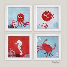 Under The Sea- Nursery Art Print- Set of 4