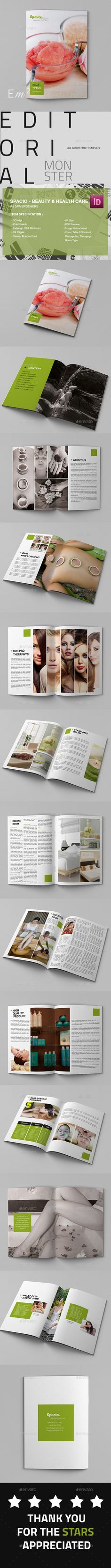 Spacio ¨C Spa Beauty and Health Care A4 Brochure is a beauty brochure fit for any kind of beauty industry, such as : salon, spa, sa
