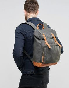 Image 3 of ASOS Backpack In Khaki Canvas
