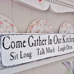 Love to have this in my new kitchen!-Vintage Wooden Kitchen Sign Words - Home Decorating Tips Wooden Kitchen Signs, Kitchen Sign Ideas, Kitchen Quotes, Kitchen Vinyl Sayings, Vintage Kitchen Signs, Wooden Pallet Signs, Kitchen Words, Wooden Plaques, Wood Pallets