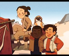 Star Wars: TFA || Rey, BB-8, Finn, and Poe. Too cute! || inchells.tumblr.com