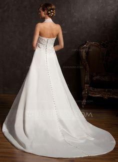 A-Line/Princess Halter Chapel Train Satin Wedding Dress With Beading Appliques Lace Sequins (002015162)