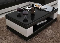 Contemporary Black and White Leather Coffee Table w/Black Glass Table Top