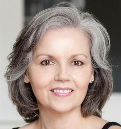 I can really see this with Mom's texture and swirls.  Medium hairstyle for gray hair in older women