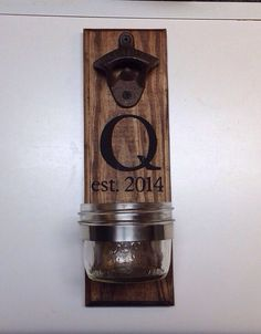 Personalized Rustic wooden bottle opener beer cap catcher cast iron gift groomsman, father's day