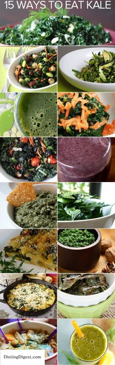 So many ways to eat more kale. Recipes for soup, salad, sautees, and smoothies! Check out Dieting Digest
