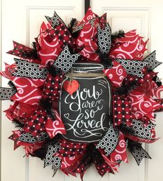 A personal favorite from my Etsy shop https://www.etsy.com/listing/508292051/valentines-day-deco-mesh-wreath