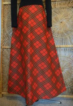 Vintage 1970s Plaid Maxi Skirt-Perfect for the Holidays. $25.00, via Etsy.
