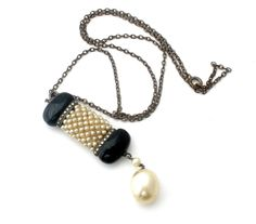 """Sterling Silver Pearl Black Glass Art Deco Necklace Marcasite Jewelry 20"""" Long #TheJewelryLadysStore #Pendant"""