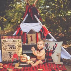 Your place to buy and sell all things handmade Lumber Jack Birthday Printable Plaid Outdoor TeePee Boys First Birthday Party Ideas, 1st Birthday Pictures, 1st Birthday Themes, Wild One Birthday Party, Baby Boy First Birthday, Boy Birthday Parties, Birthday Cakes, Lumberjack Birthday Party, 1st Birthday Photoshoot