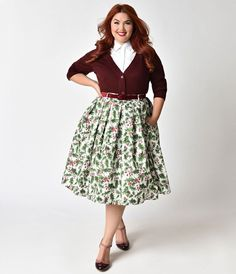 Hell Bunny Plus Size White & Holly Berry Cotton Skirt #ad