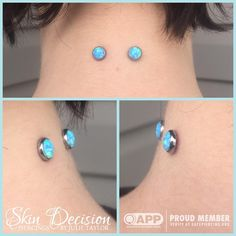 Nape surface piercing by APP member Julie Taylor of Skin Decision in Nova Scotia.