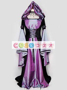 ハロウィン ルネッサンス ドレス ポリエステル中世紫前面レース アップ コスチューム コスプレ